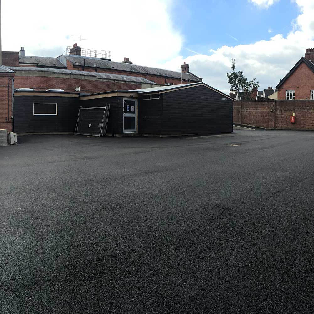 Large carparking space outside of a police station