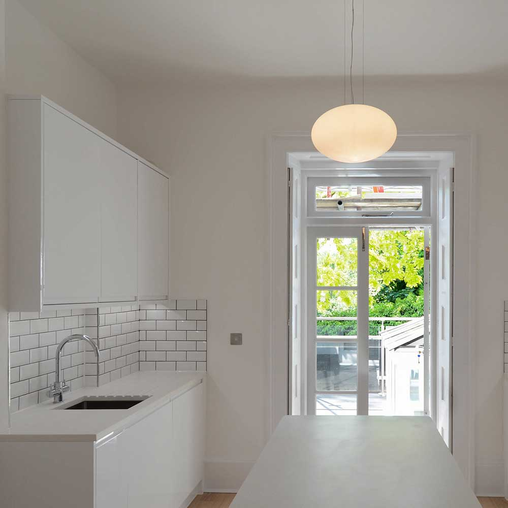 Bright and open kitchen space inside a building conversion project