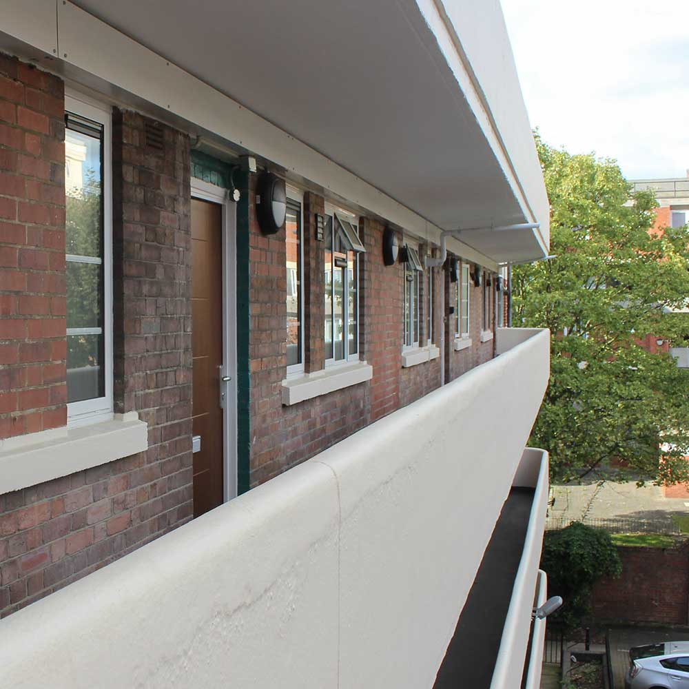 Decorated balcony's after exterior refurbishment