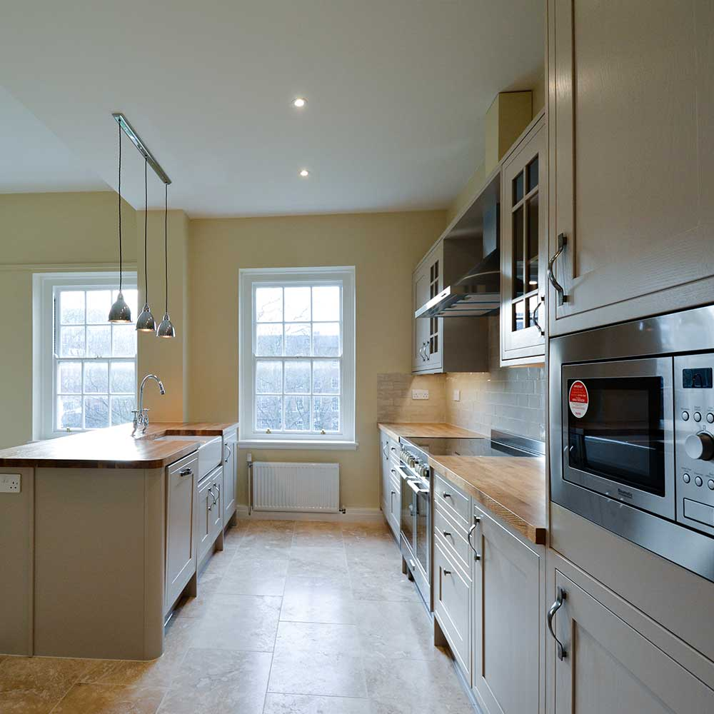 Large newly fit and installed kitchen inside a high end refurbishment