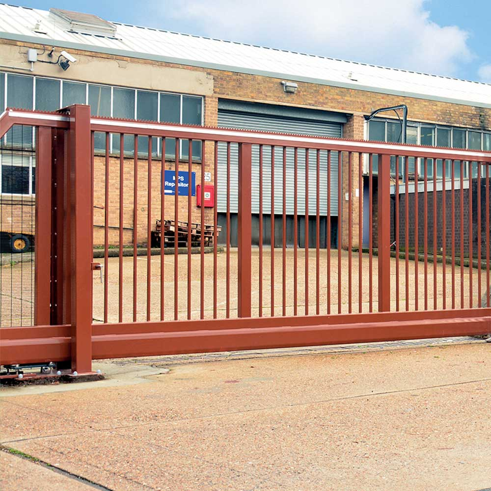 Electric gate blocking entry to a maintenance project that axis worked on for the MET police