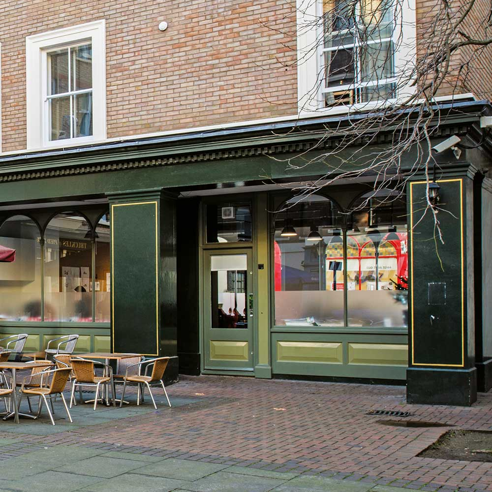Exterior of a commercial space at Pied Bull Yard after recent painting and decorating refurbishment
