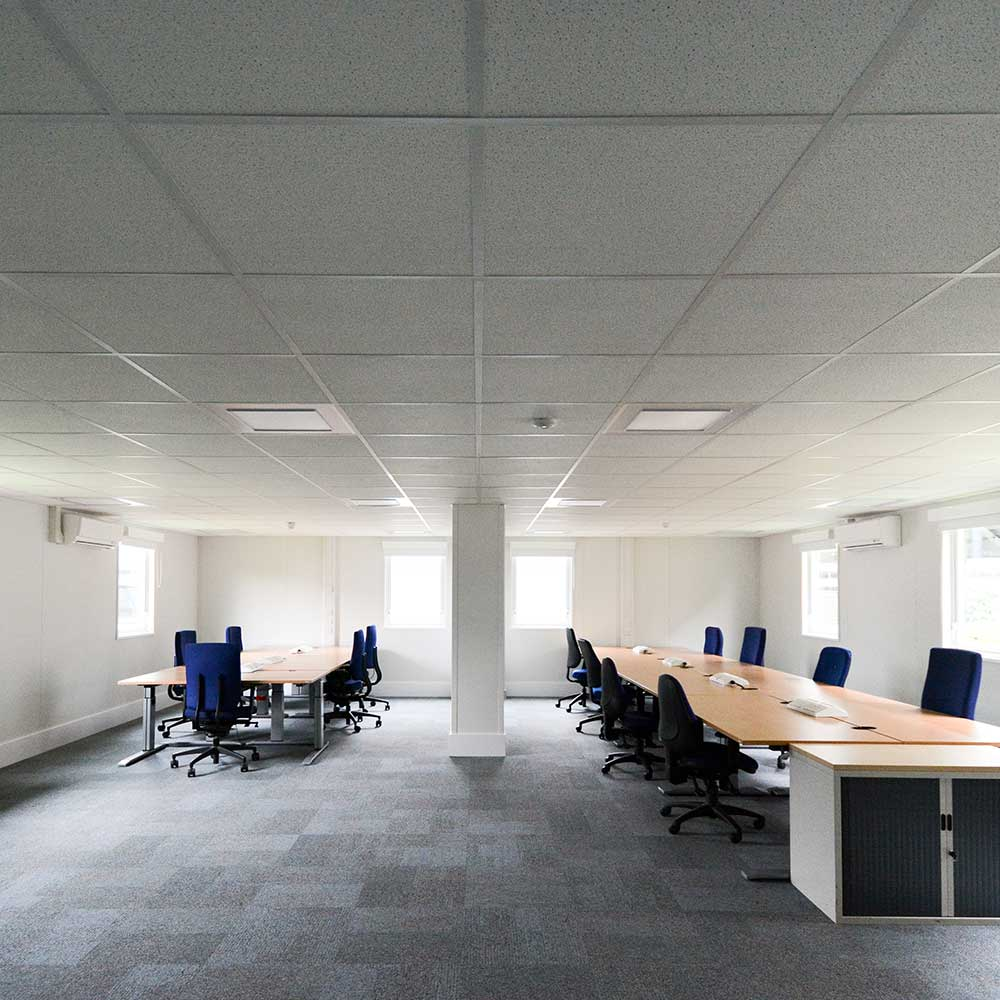 interior of a recently installed MET police modular building