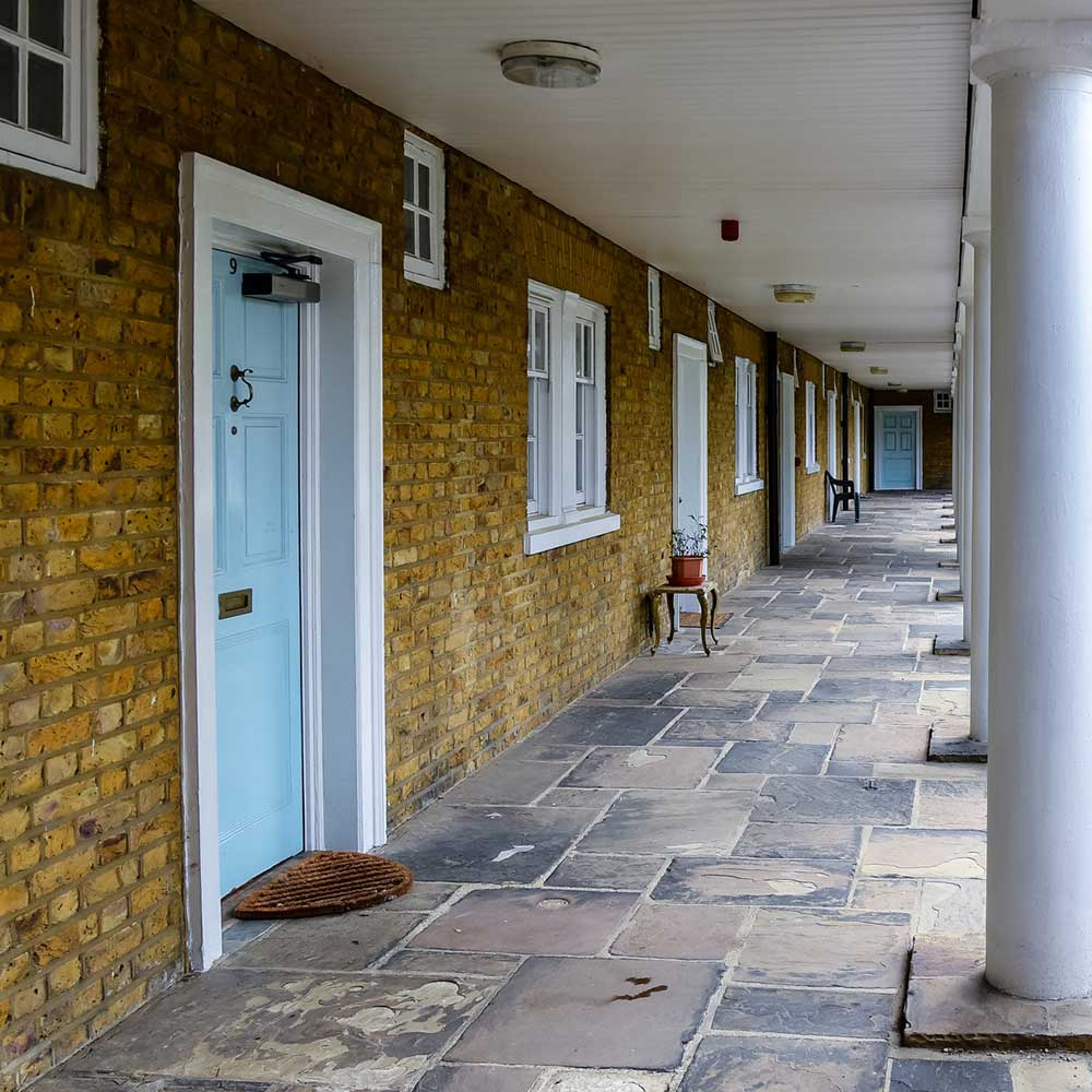Stone paving, brickowrk and painting an decorating works are shown on this estate in Lambeth after cyclical maintance works have been carried out