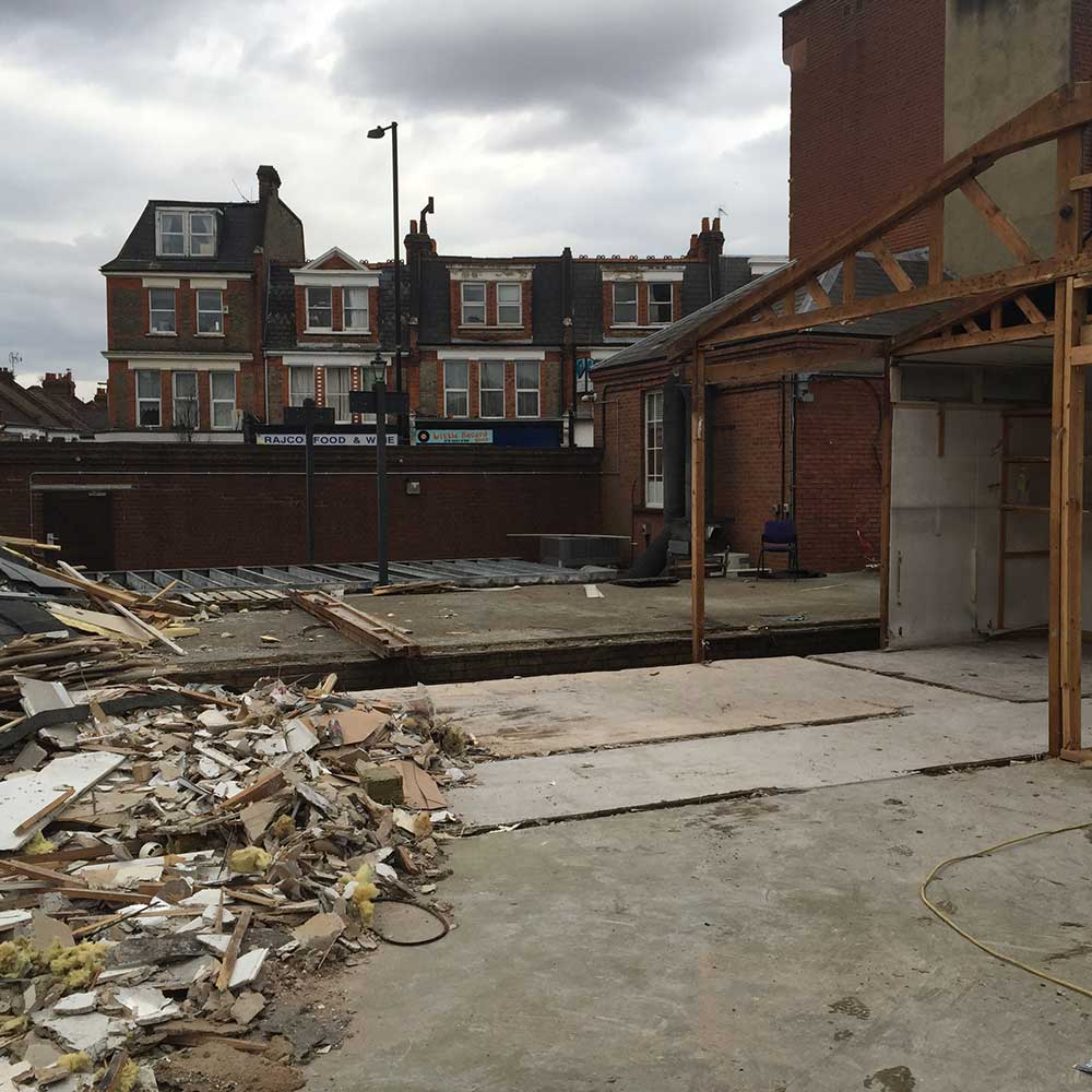 Rubble during refurbishment and new installations at police station