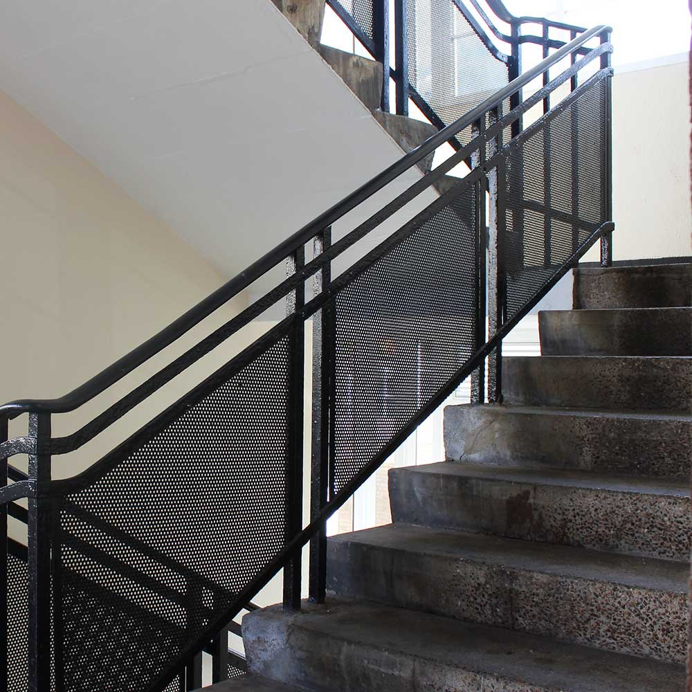 Staircase inside a residential block that has undergone external redecoration