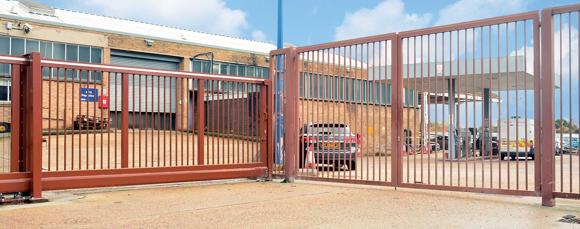 Huge MET police gate at Hendon training center