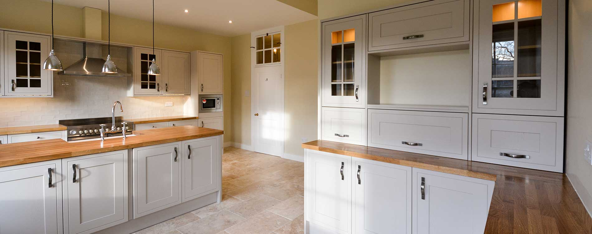 Large open plan kitchen installed as part of refurbishment works