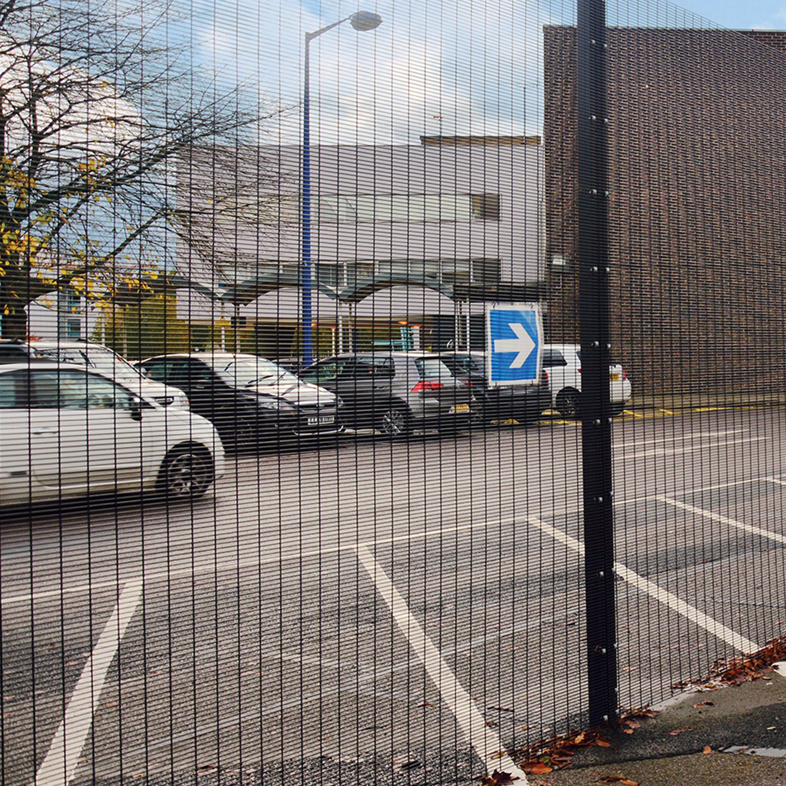 Large fence inside a MET police training center