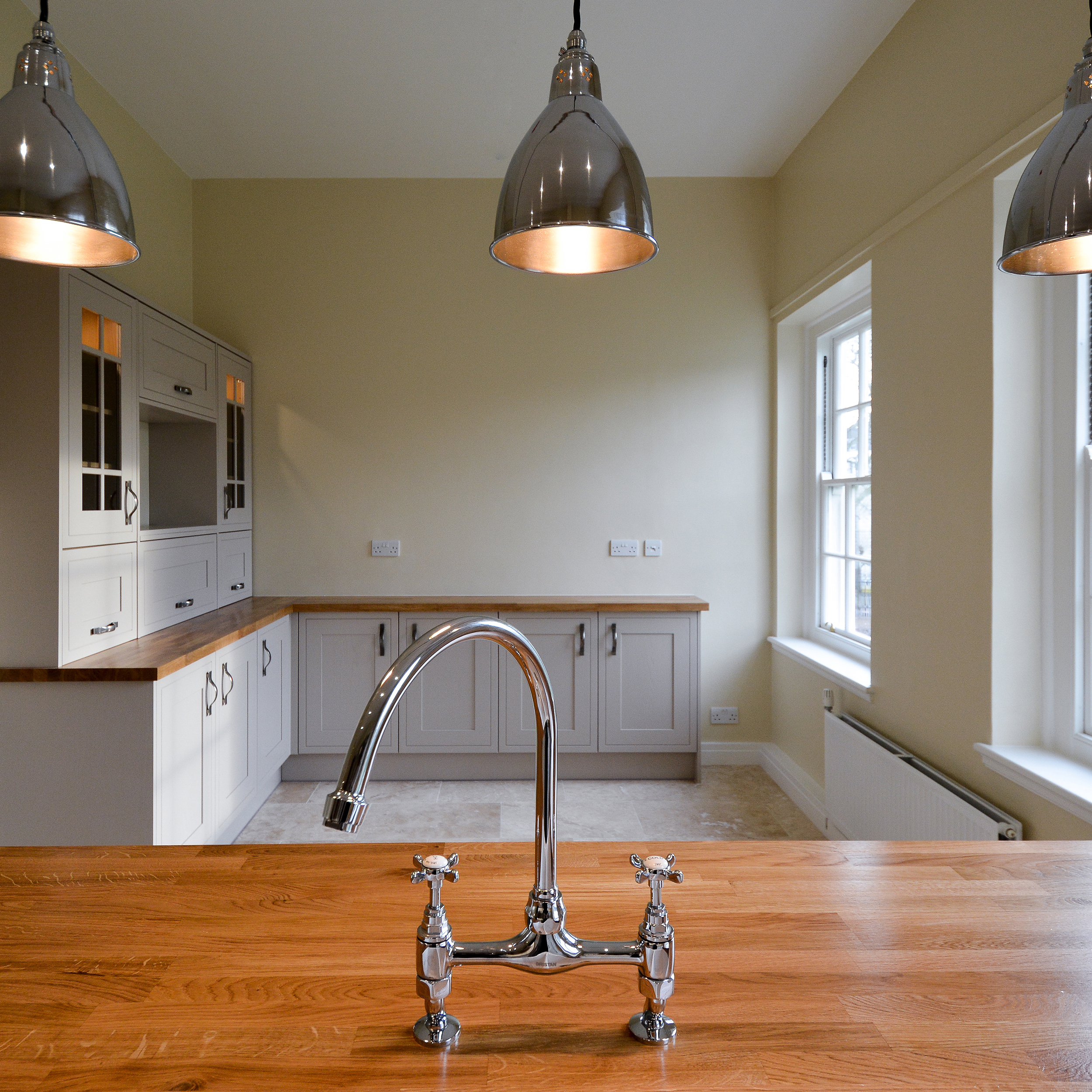 High end refurbishment shows the kitchen space
