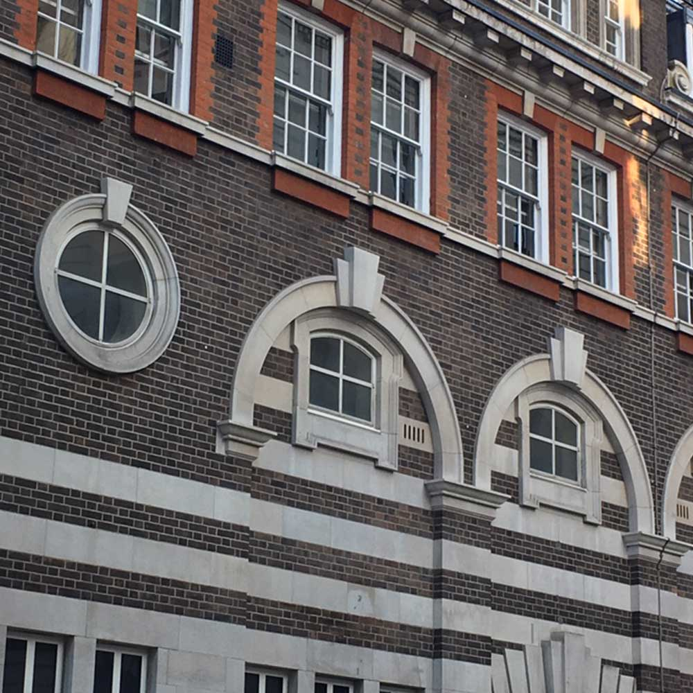 Exterior façade of old Scotland yard after a roof renewal project
