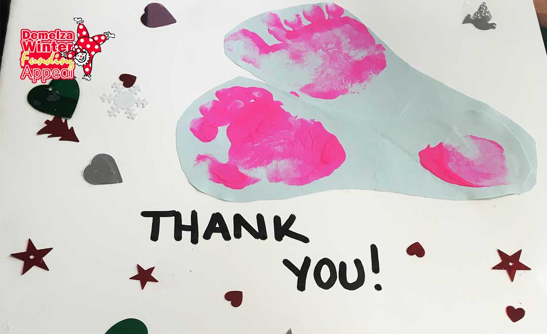 Thank you card from Demelza hospice after Axis Winter appeal raised over £75,000