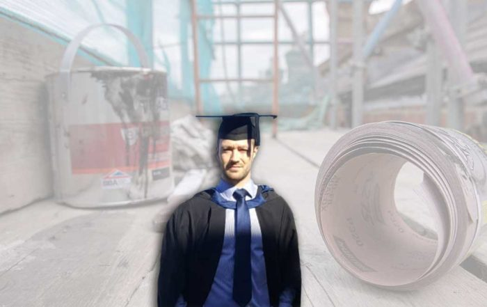 Quantity Surveyor Apprentice Barnaby at his graduation