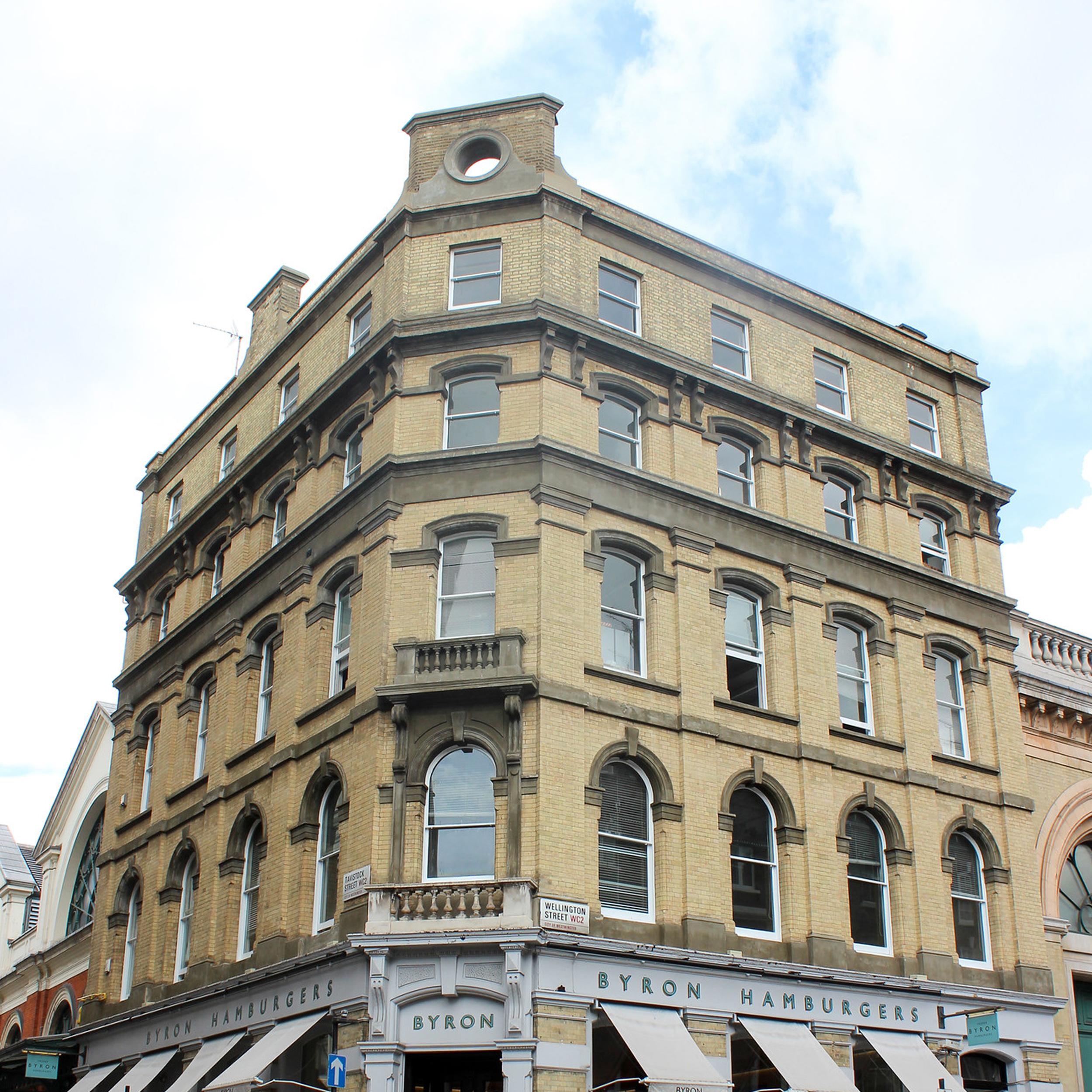 Large building in central London after exterior renovation works