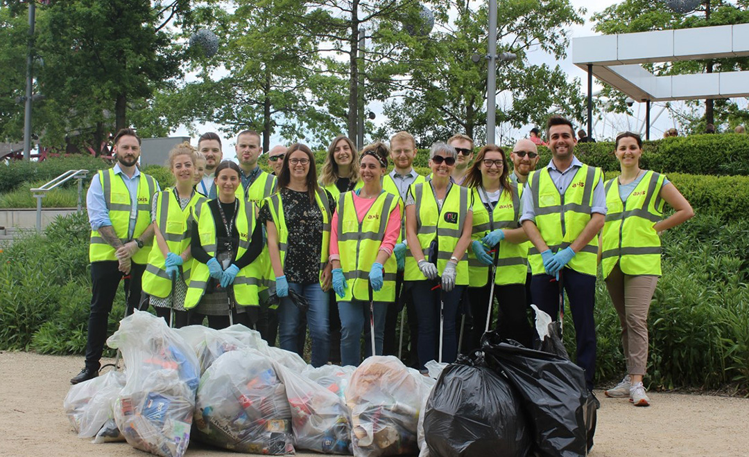 Axis volunteers at the British spring clean