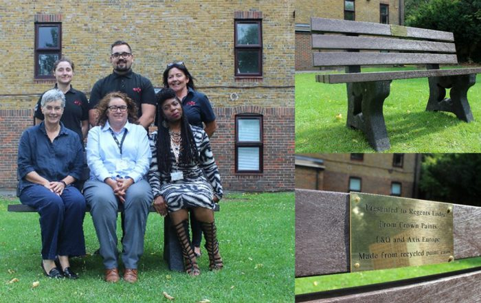 L&Q community residents sitting on the benches donated by Axis