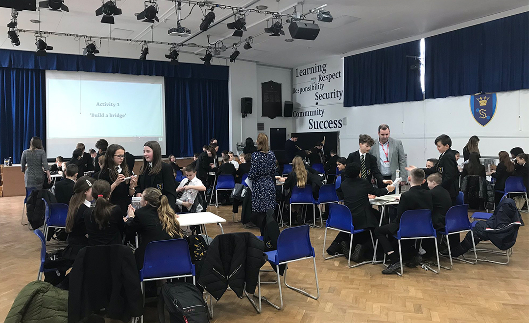 Axis team deliver employability workshop to a group of students at Shenfield high