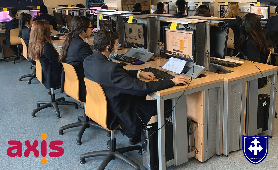 St Mary's school students taking part in virtual work experience with the Axis team