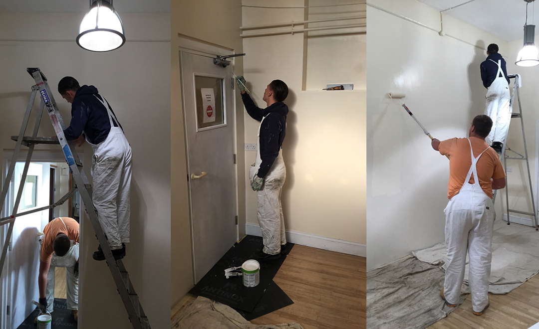 volunteers redecorating a community hall for Mind