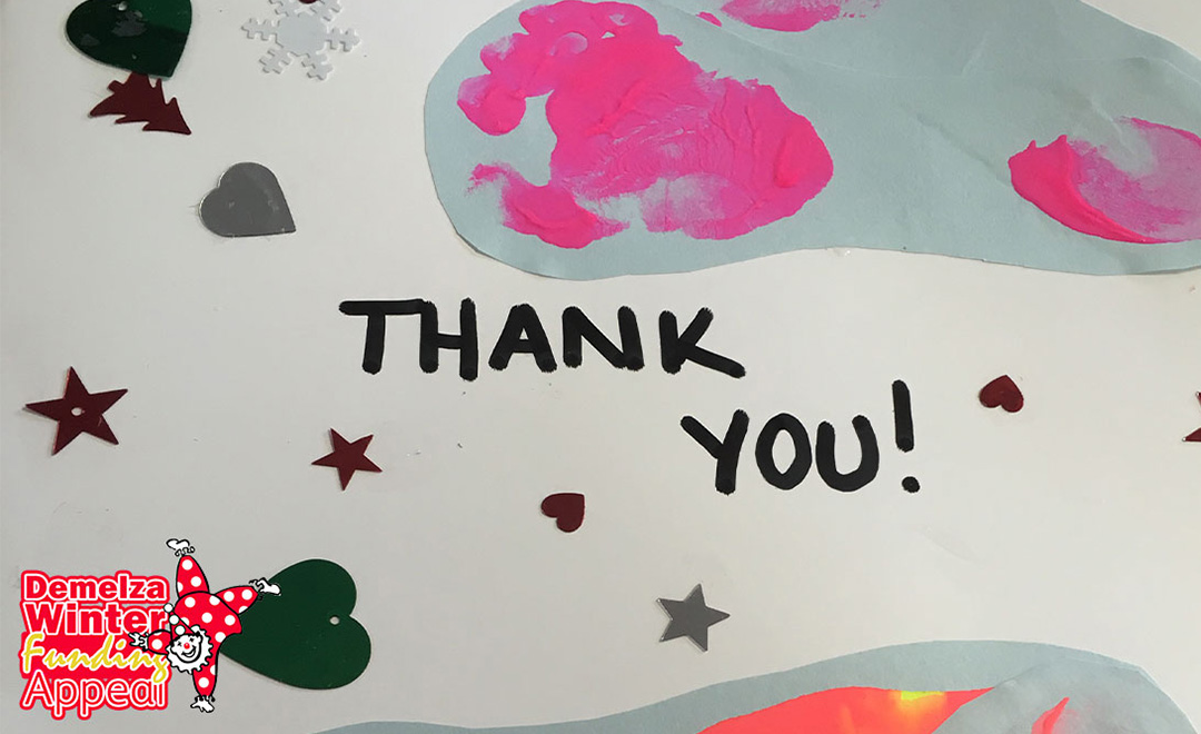 Thank you poster made by children as a thank you to Axis for donations from Winter appeal