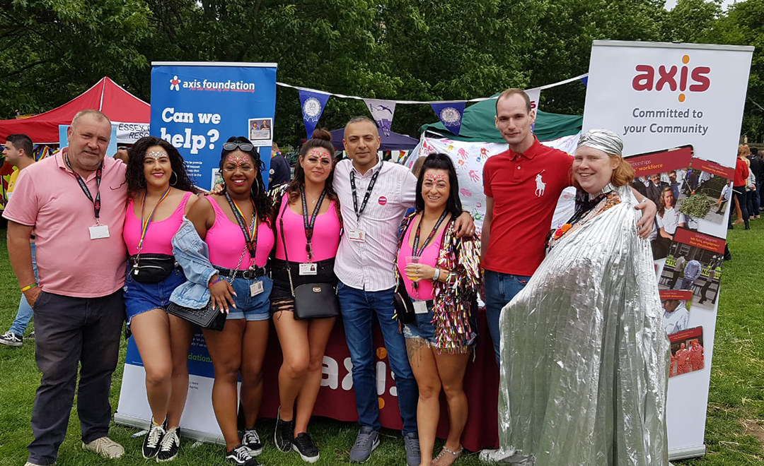 Axis team members celebrating Essex Pride along side our clients swan