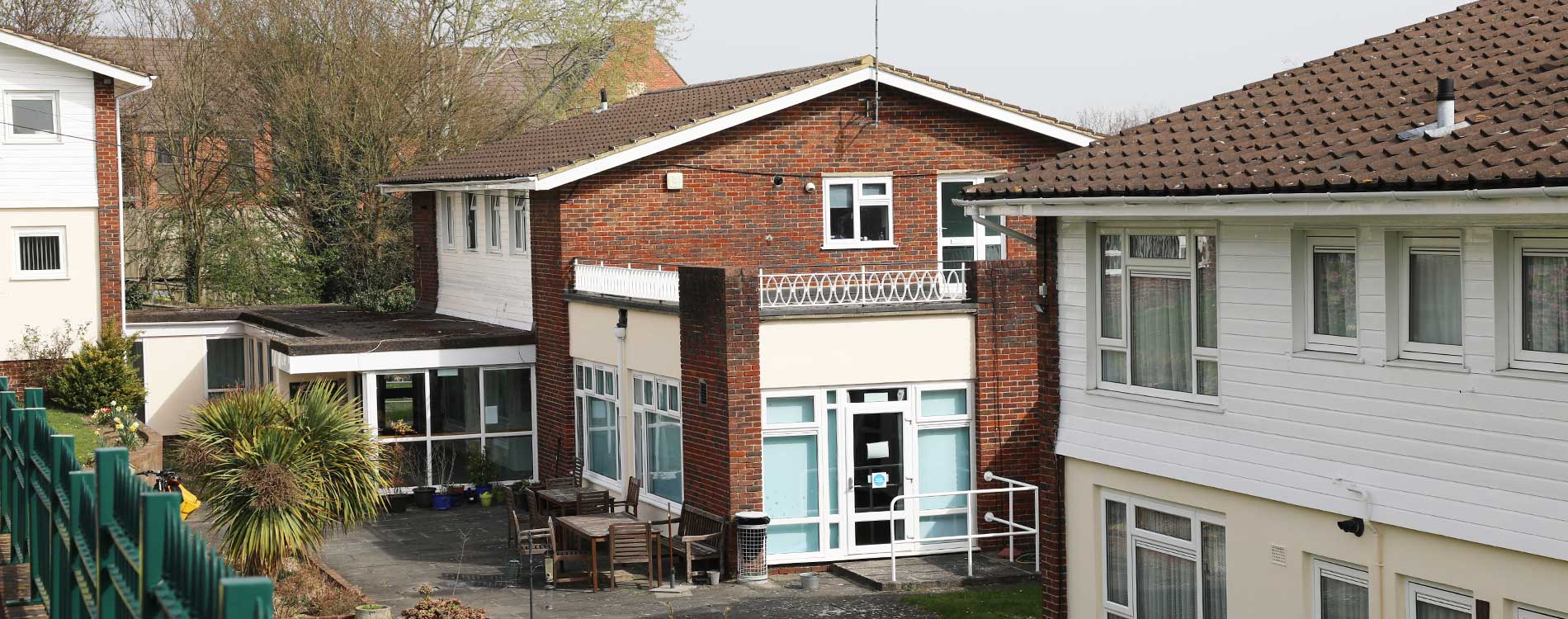 exterior of a sheltered housing block after cyclical decorations were complete