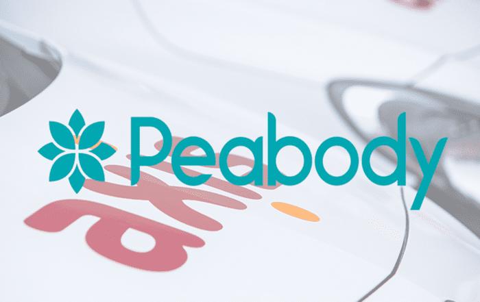 Peabody logo over vans
