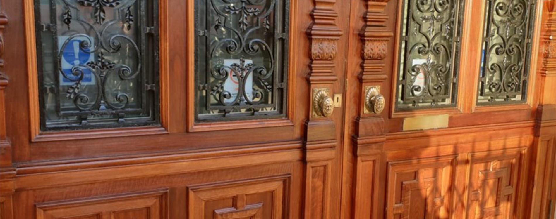 Grade II listed oak doors